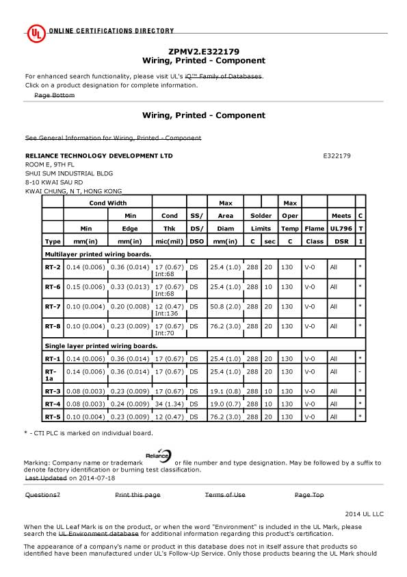 Reliance Technology Development Ltdpcb Fabrication Certificate Pcb